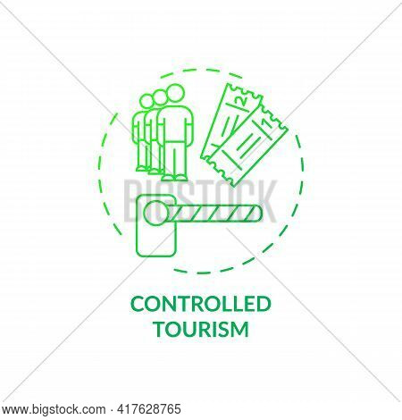 Controlled Tourism Concept Icon. Best Sustainable Tourism Practices. Specific Amount Of People Allow