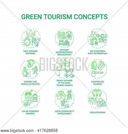 Green Tourism Concept Icons Set. Reduce Water Consumption. Discovering Eco Tourism Advantages. Natur