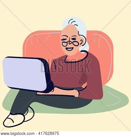 Social Concept - Old People Using Computer. An Elderly Person Works Or Studies At A Laptop. Vector I