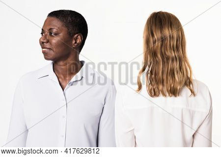 Diverse people wearing basic long-sleeve shirts for apparel ad