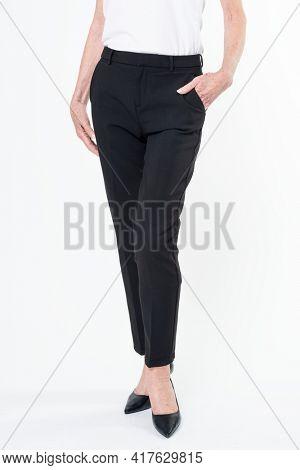 Women's black slack pants business wear