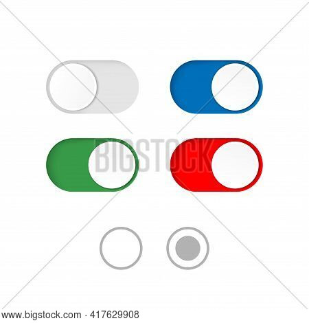 On And Off Toggle Switch Buttons Isolated On A White Background