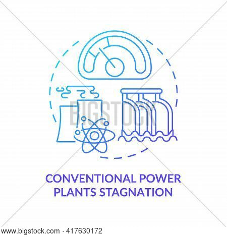Conventional Power Plants Stagnation Concept Icon. Industry Trend Idea Thin Line Illustration. Shutt
