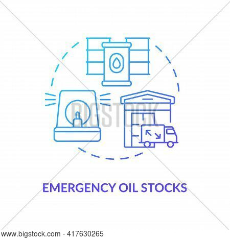 Emergency Oil Stocks Concept Icon. Energy Security Piece Idea Thin Line Illustration. Establishing R