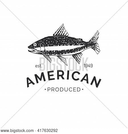 Drawing Of Trout In Vector. Seafood Packaging Logo