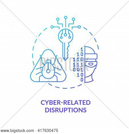 Cyber-related Disruptions Concept Icon. Energy Security Threat Idea Thin Line Illustration. Cyberatt