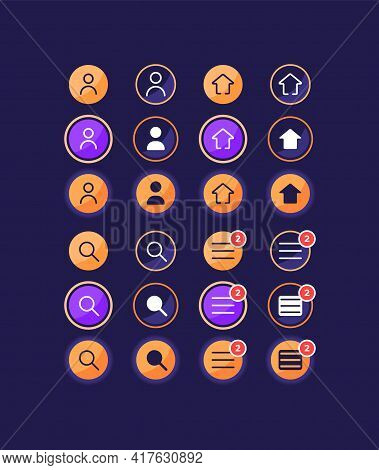 Settings Options For User Account Ui Elements Kit. Homepage Buttons Isolated Vector Icon, Bar And Da