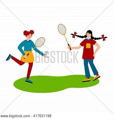Girls Play Badminton. Badminton Rackets And Shuttlecock. Outdoor Sports Games. Flat Style Vector Ill