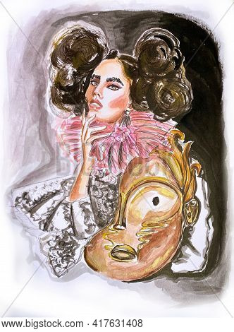 Hand-drawn Acrylic Fashion Illustration Of Imaginary Glamour Grotesque Model In A Theatre Costume: M