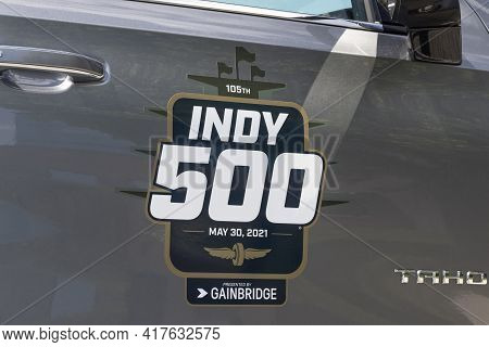 Indianapolis - Circa April 2021: Special Logo Commemorating The Indianapolis 500 At Indianapolis Mot