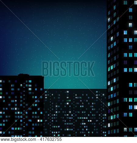 Glowing Windows Of Buildings, Stars In Night Sky. View From Window On City Night Landscape. Light Of