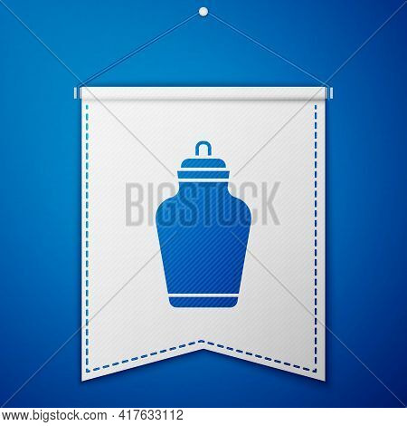 Blue Funeral Urn Icon Isolated On Blue Background. Cremation And Burial Containers, Columbarium Vase