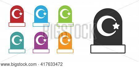 Black Muslim Cemetery Icon Isolated On White Background. Islamic Gravestone. Set Icons Colorful. Vec