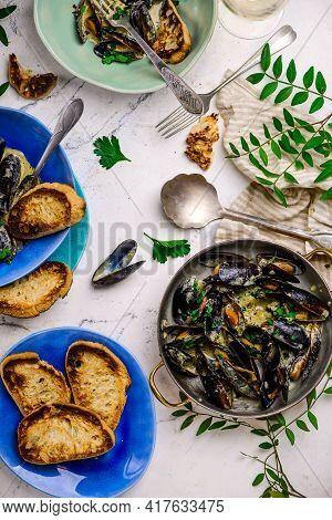 Mussels In Creamy Sauce Frying Pan Top  View..selective Focus