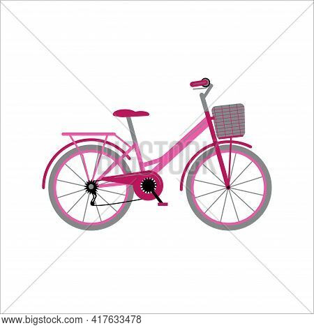 Women's Pink Bicycle With A Basket For City Travel. Bike For Travel. Hobby. Flat Style Vector Illust