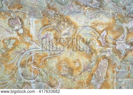 Isolated Carved Carved Stone Background Mock Up