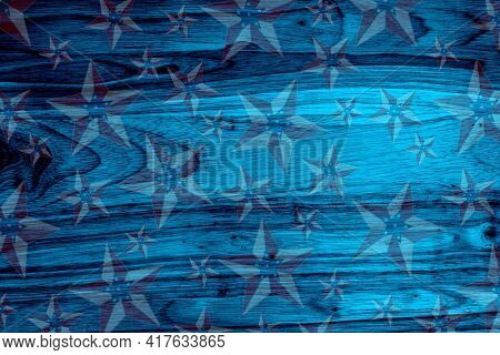 Retro American Patriotic Background With Grunge Usa Flag Stars On Blue Wood With Copy Space For Your