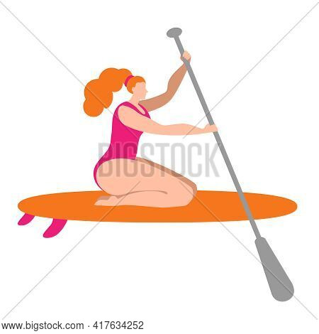 A Girl In A Swimsuit With A Paddle Sits On A Surfboard. Isolated Vector Illustration In A Flat Style