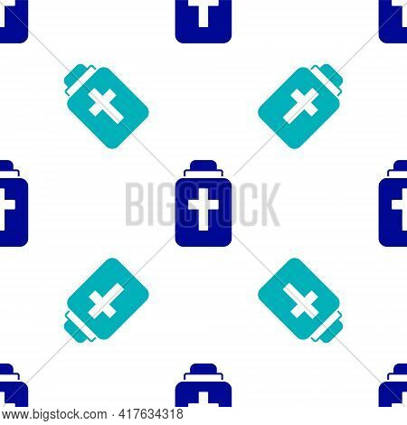 Blue Funeral Urn Icon Isolated Seamless Pattern On White Background. Cremation And Burial Containers