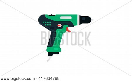 Electric Screwdriver, Drill Side View. Power Tools For Home, Construction And Finishing Work. Profes