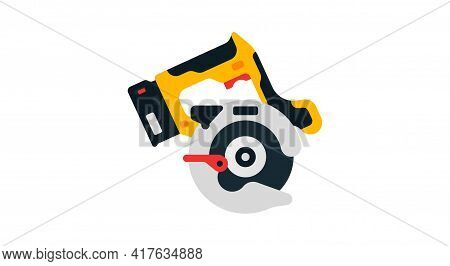 Circular Saw Side View. Power Tools For Home, Construction And Finishing Work. Professional Worker T