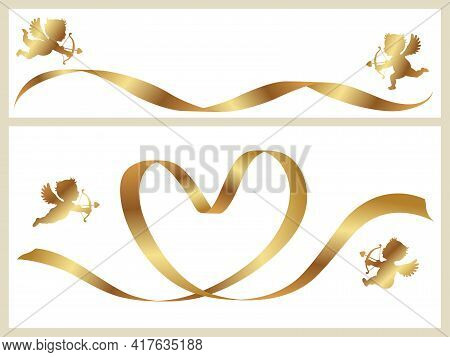 Valentine's Day Vector Card Templates Set With Gold Ribbons And Cupids. Easy To Use Illustration Iso