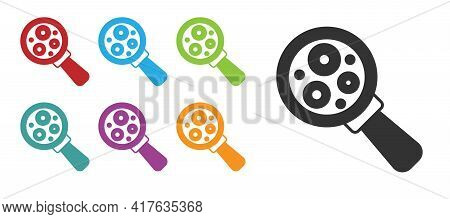 Black Microorganisms Under Magnifier Icon Isolated On White Background. Bacteria And Germs, Cell Can