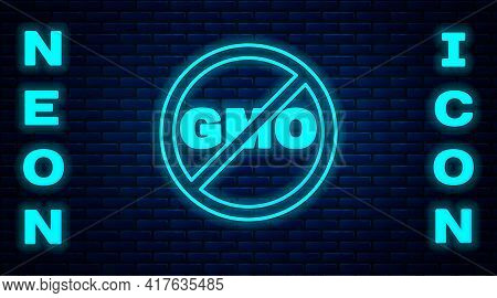 Glowing Neon No Gmo Icon Isolated On Brick Wall Background. Genetically Modified Organism Acronym. D