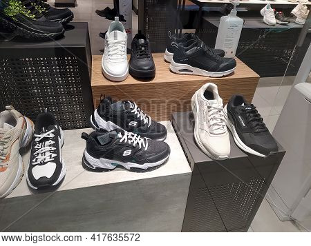 Kiyv, Ukraine - August 30, 2020: Skechers Shoes At The Shop At Shopping Mall.