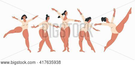 Body Positive Smiling And Dancing Plus Size Women In Swimsuit. Chubby Girls Gymnasts And Ballerinas.