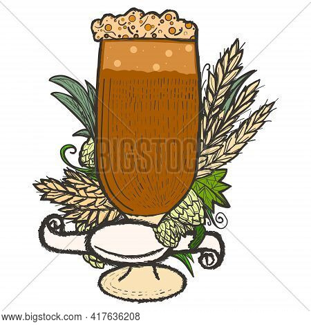Beer Label In A Glass With Hops, Wheat Spikelets And Blank Ribbon Color.