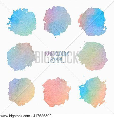 Watercolour Brush Set. Gradient Handmade Splashes And Brush Strokes. Vector Illustration