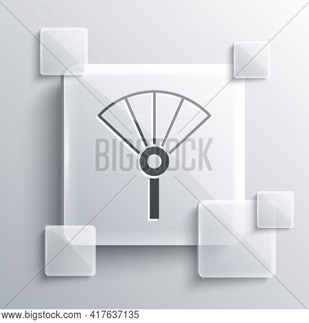 Grey Traditional Paper Chinese Or Japanese Folding Fan Icon Isolated On Grey Background. Square Glas