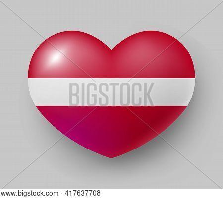 Heart Shaped Glossy National Flag Of Latvia. European Country National Flag Button, Latvian Symbol I