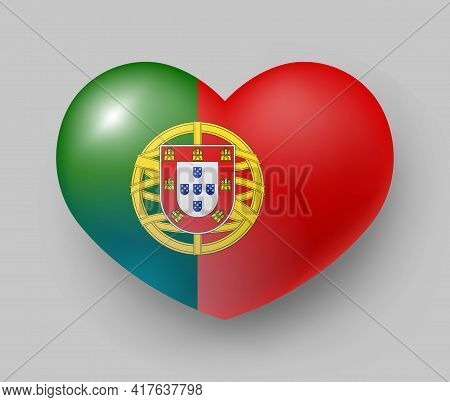 Heart Shaped Glossy National Flag Of Portugal. European Country National Flag Button, Portuguese Sym