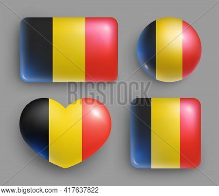 Glossy Buttons With Belgium Country Flags Set. European Country National Flag Shiny Badges Of Differ