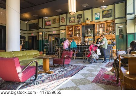 New Orleans, La - February 2: Bar And Lobby Of Ace Hotel In The Central Business District On Februar
