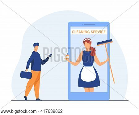 Tiny Man Calling To Housecleaner With Cellphone. House Cleaner, Maid, Phone Flat Illustration. Clean