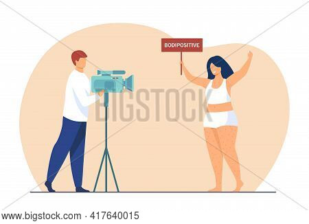 Happy Unshaved Overweight Woman Posing For Camera. Cameraman, Placard, Activist Flat Vector Illustra