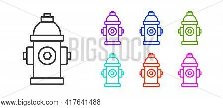 Black Line Fire Hydrant Icon Isolated On White Background. Set Icons Colorful. Vector