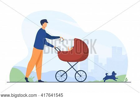 Happy Father Walking With Baby And Dog. Toy, Pram, Pet Flat Vector Illustration. Family And Fatherho