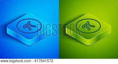 Isometric Line Pi Symbol Icon Isolated On Blue And Green Background. Square Button. Vector