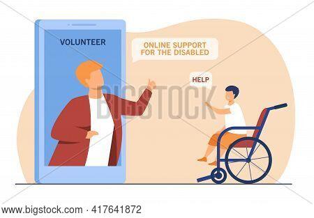 Volunteer Talking With Disabled Little Boy Online. Smartphone, Wheelchair, Screen Flat Vector Illust