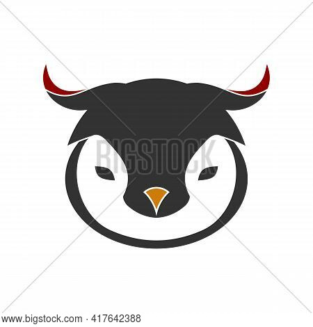Illustration Vector Graphic Of Logo Bull Head Logo With Baby Penguin, Unique And Elegant Design. Sui