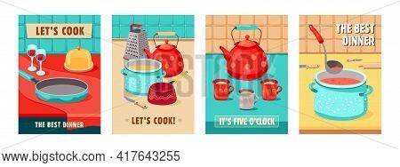 Trendy Poster Designs With Kitchen Utensils. Vivid Brochures With Kettle, Pot, Grater, Cups, Wine Gl
