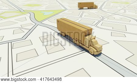 Big Cardboard Box Package On A Wooden Toy Truck Ready To Be Delivered On A Road Map