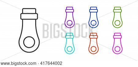 Black Line Zipper Icon Isolated On White Background. Set Icons Colorful. Vector
