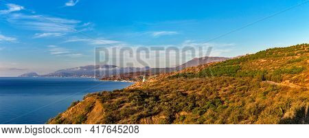Sea Mountains And Villages In Crimea On A Summer Morning