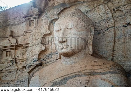 Beautiful Face Of Buddha At Gal Vihara. This Is An Unusual Feature In Ancient Sinhalese Sculpture In