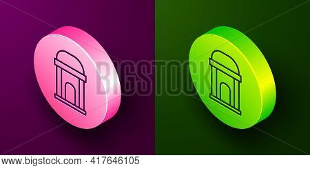Isometric Line Old Crypt Icon Isolated On Purple And Green Background. Cemetery Symbol. Ossuary Or C